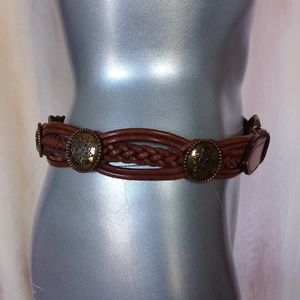 Brown Braided Leather Belt with Gold Cabachons